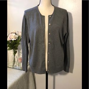 Land's End Charcoal Gray Button Cardigan Sweater